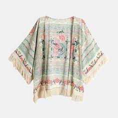 Floral Print Fringe Kimono Jacket Boho Clothing -Cherrycloth