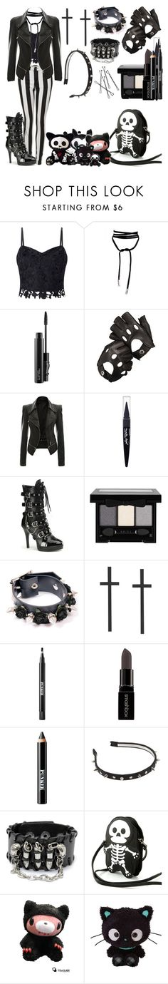 """Untitled #554"" by dragonladydoctor ❤ liked on Polyvore featuring Lipsy, Balmain, Lamoda, MAC Cosmetics, Aspinal of London, Maybelline, Funtasma, Ardency Inn, Smashbox and Sleepyville Critters"