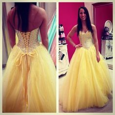 Ball Gown prom dress,Sweetheart prom dress,Open Back prom dress,Lace prom dress,Long Prom Dress,Yellow prom dress,BDS00103