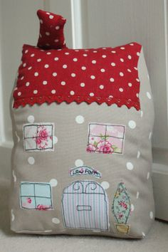 House Door Stop with free-hand machine embroidery via Emily Carlill