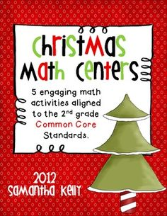 5 Christmas themed Math Centers aligned to 2nd grade Common Core Standards! $