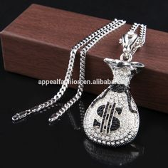 Wholesale Hip Hop Antique Silver Plated Money Bag Pendant For Men Women Bling Crystal Dollar Charm Necklace Long Cuban Chain Jewelry - Alibaba.com