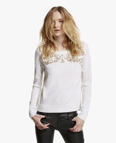"""Pullover mit Stickerei """"Baroque"""" - Alle Produkte - Woman - The Kooples Knit Sweaters, Lace Sweater, Baroque, Kooples, Pullover, Knitting, Womens Fashion, Clothes, Beautiful"""