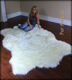 FUR ACCENTS Faux Fur White Polar  Bear Area Rug / Off White Hide Shape All Sizes