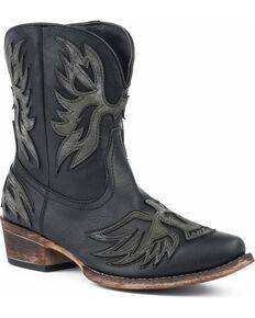 Roper Women's Brown Selah Booties - Round Toe - Country Outfitter Short Cowgirl Boots, Kids Western Boots, Womens Cowgirl Boots, Kids Boots, Cow Girl, Old West, Bootie Boots, Shoe Boots, Zapatos
