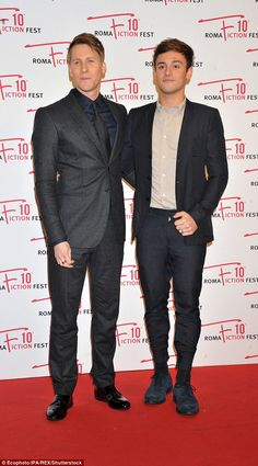 Tom Daley let his partner Dustin Lance Black take centre stage at the Roma Fiction Fest in Italy as his new miniseries We Will Rise premiered