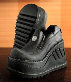 fb074398fda SONAX unique black dark gray Club Kid Rave Harajuku Techno platform shoes  90s chunky clubkid platform wedges Sonax boot
