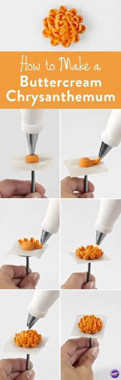 How to Make a Buttercream Chrysanthemum - Here's a step-by-step guide to piping a buttercream Chrysanthemum using Wilton decorating tip #81.