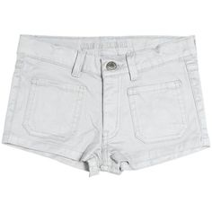 Zadig&voltaire Kids-girls Coated Stretch Cotton Denim Shorts (755 NOK) ❤ liked on Polyvore featuring grey