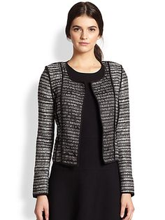 MILLY - Piped Stripe-Patterned Knit Jacket