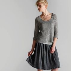 Love the pretty flippy skirt, the length, layers, shape of the top and neutral greys. Eileen Fisher *