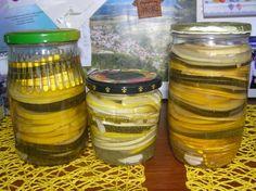 Pikantná zaváraná cuketa (fotorecept) - obrázok 3 Leto, Mason Jars, Mason Jar, Glass Jars, Jars