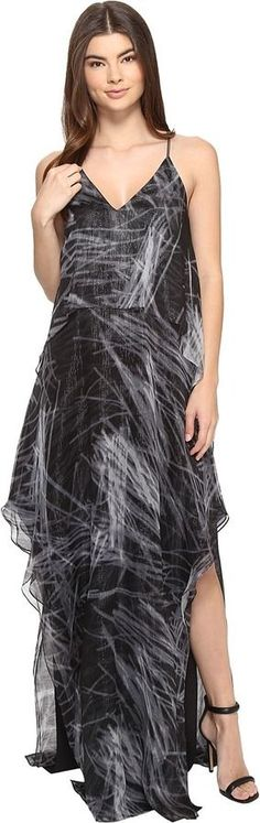 Halston Sleeveless Cami Flowy Printed Gown
