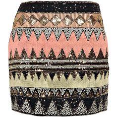 Boohoo Safa Sequin Front Mini Skirt found on Polyvore