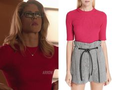 Phillip Lim: Ribbed short sleeve sweater in Bright Cerise shop this post: !function(doc,s,id){ var e, p, cb;getElementById(id)) { e = doc. Iris West, Felicity Smoak, Emily Bett Rickards, Ribbed Sweater, Season 7, Pink Shorts, 3.1 Phillip Lim, Arrow, Short Dresses