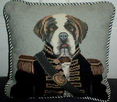 "Needlepointe 14"" Pillow St Bernard Dressed as General 100 Wool Zipper Closure | eBay"