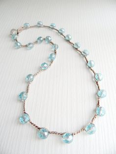 crochet necklace glam sparkily cool edgy by theflowerdesign, $32.00