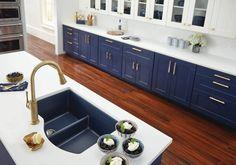 Quartz Luxe Double Bowl Undermount Sink with Aqua Divide, Jubilee - Kitchen - Chicago - by Elkay Green Kitchen Accessories, Elkay Sinks, Types Of Countertops, Dark Kitchen Cabinets, Blue Cabinets, Kitchen Sinks, Composite Sinks, Kitchen Designs Photos, Wood Bar Stools