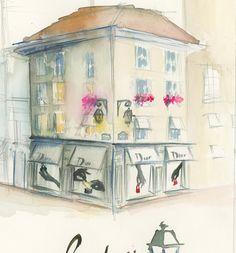 Sketch of Dior Storefront