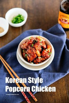 Korean Style Popcorn Chicken recipe. A type of Korean fried chicken! It's crunchy and coated with sticky, sweet, tangy and spicy sauce! Crowd pleaser!