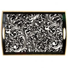 Black Florentine Decoupage Wooden Tray
