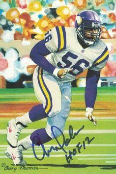 4a5ac56df19 Chris Doleman Autographed Minnesota Vikings Goal Line Art Card Blue HOF