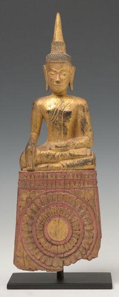 Other Asian Antiques Antiques Devoted Statue Alter Bronze Sitting Monk Buddha On Shell Shakyamuni Amulet Thai