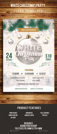 White Christmas Party Flyer Template PSD #design Download: http://graphicriver.net/item/white-christmas-party-flyer/13759525?ref=ksioks