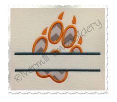 $2.95Split Applique Wolf Paw Print Machine Embroidery Design