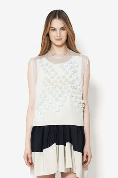 SLEEVELESS CROPPED TOP WITH DANDELION EMBELLISHMENT $475.00