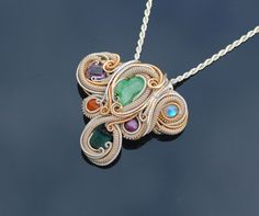 Yoni Chakra healing heady wire wrap pendant / by TendaiDesigns