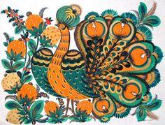 Petrykivka painting.Marfa Tymchenko FIREBIRD