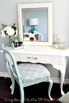 "Hello beautiful people! Today, one of my blogging bffs is sharing an amazing vanity makeover with you! Check it our and show her some love! Thanks, Melissa! ____________________________________________________________ You might remember me introducing you to my $10.00 vanity that I ""picked"" from Kijiji last summer, here, or my antique vanity chair that I also found on Kijiji for $10....Continue Reading"