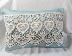 Cottage chic pillow cover blue heart lace by SewnInspirations