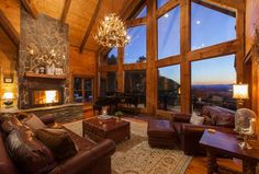 Cozy Romantic Luxury w/ Wood-burning Fireplace and Stunning Sunsets *Please note that the piano has been removed from the cabin* Blue Ridge Cabin Rentals, Mountain Cabin Rentals, Georgia Cabin Rentals, Winter Cabin Rentals, Cabin Fireplace, Forest Cabin, Luxury Cabin, Luxury Lodges, Log Cabin Homes