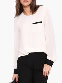 White Long Sleeve Button Closure Back Blouse