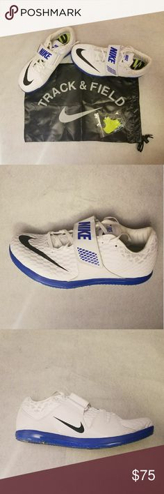 New Nike Zoom Track and Field Spikes Shoes Description:?  Item: A pair of New without tags Nike Zoom HJ Elite Track High Jump Spikes Shoes Size: 10.5 New without box; Includes spikes, wrench tool and bag Style Number: 806561-100 Shoes Condition: Brand New, Never been worn.? Color: Navy Blue/White 100% Authentic.??  Please let me know if you have any questions. Nike Shoes Athletic Shoes
