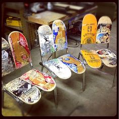 {SKATEBOARDS} Repurpose Old Skateboards & turn them into shelves, chairs or swings! Www.myARTSITTER.com