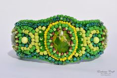 Beaded cuff bracelet green yellow accessory by ExclusiveCraft