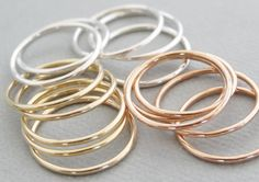 Super Thin Rings stacking rings - choose rose gold, gold, silver - knuckle rings, midi rings, thumb rings or pinky rings by bluebirdss on Etsy https://www.etsy.com/listing/192586193/super-thin-rings-stacking-rings-choose