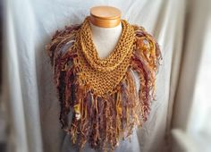 knit scarf cotton triangle shawl chunky with by 910woolgathering, $35.00