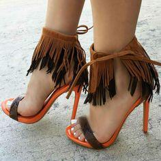 Amazing Fringe Sandal Heels