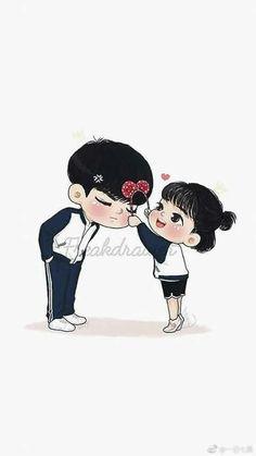 Love Cartoon Couple, Cute Cartoon Pictures, Cute Couple Art, Cute Love Cartoons, Cute Couples, Sweet Couple, Anime Love Story, Cute Couple Wallpaper, Cute Anime Coupes