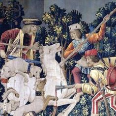 """Detail from """"The Unicorn is Killed and Brought to the Castle"""", a tapestry on display in the Cloisters Museum (New York)"""