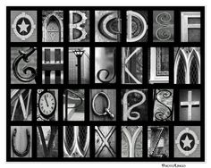 8x10 A-Z Black and White Alphabet Print - ABC's made out of Photo Letters, Art, Photography, Architecture Photo, Wall Art,  Home Decor on Etsy, $16.90 CAD