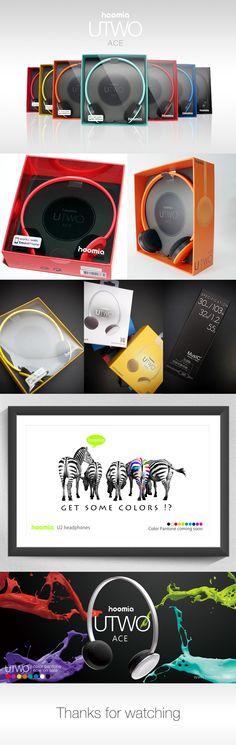 hoomia U2-ACE headphone packaging & poster design.