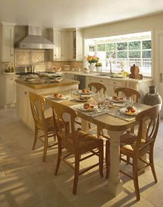 Butcher Block Island And Table Old World Kitchen Design - Interior Design Ideas, Style, Homes, Rooms, Furniture & Architecture