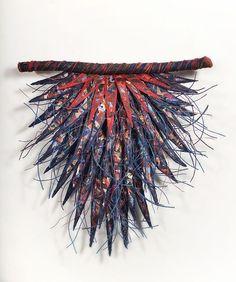 Deborah Kruger | REDBREAST, 2007 | fiber, encaustic, oilstick, paint, waxed linen, wire 9.5x9.5 /sm