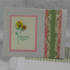 Button Flower Note Card