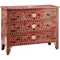 @Overstock - Rombauger Red and White Floral Medallions 3-drawer Chest - Spacious yet stylish, this 3-drawer chest will look great in any room. This chest is distinguished by floral medallions and leaf patterns all along the body.  http://www.overstock.com/Home-Garden/Rombauger-Red-and-White-Floral-Medallions-3-drawer-Chest/8664404/product.html?CID=214117 $624.99